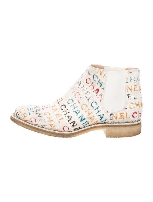 Chanel Logo Chelsea Boots Beige
