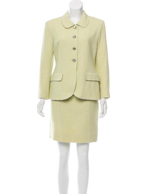 Chanel Vintage Tweed Skirt Suit Lime