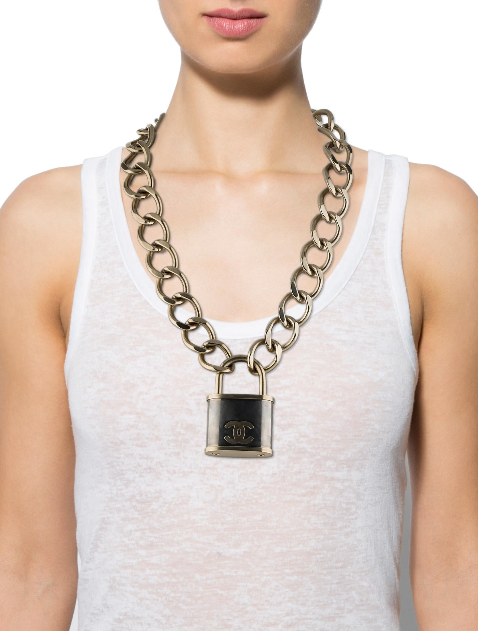Chanel Padlock Necklace Necklaces Cha44825 The Realreal
