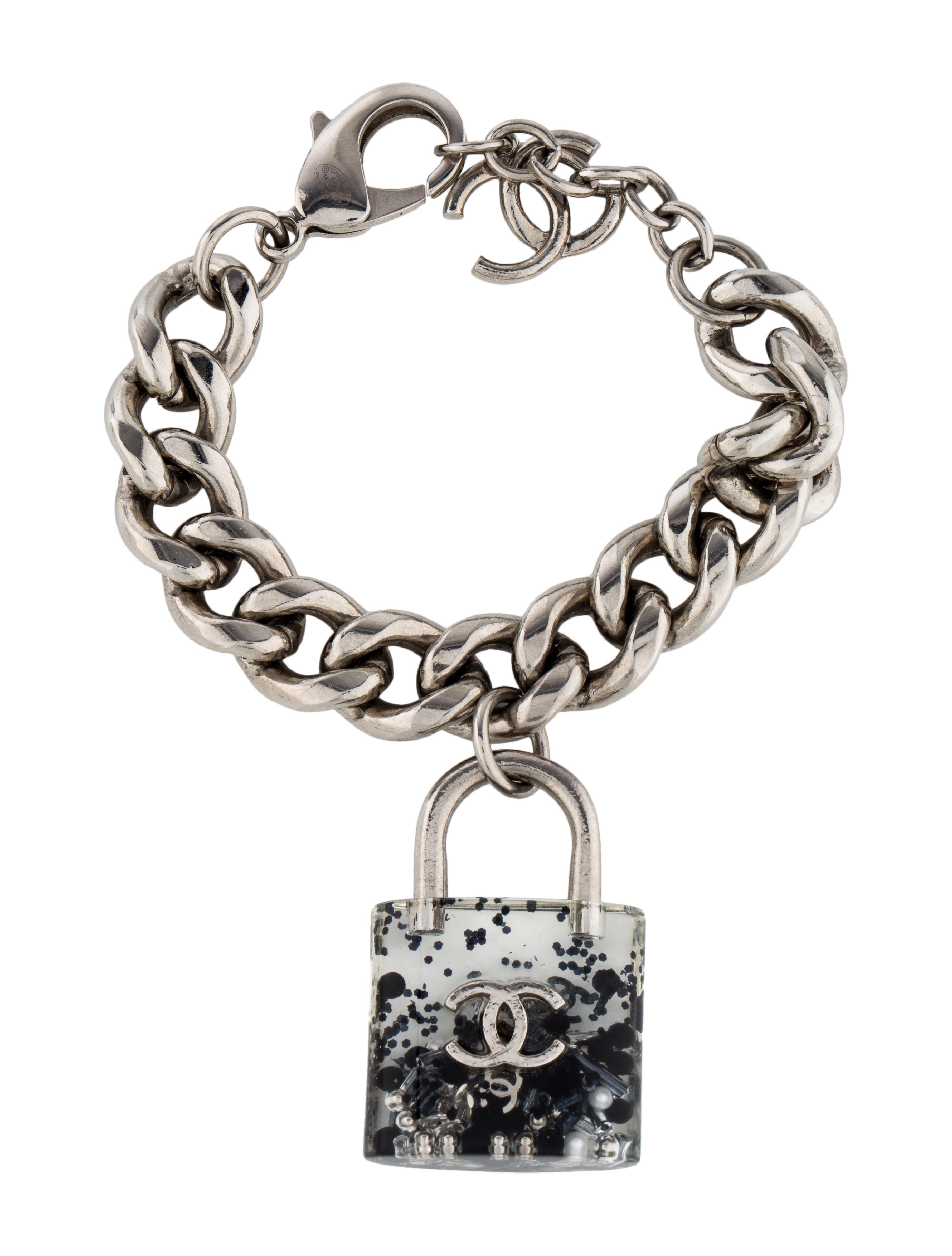 Chanel Resin Cc Lock Charm Bracelet