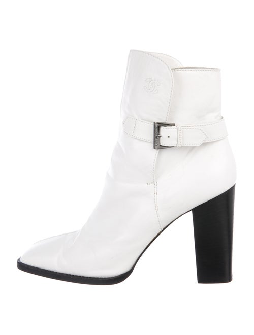 Chanel CC Ankle Boots White