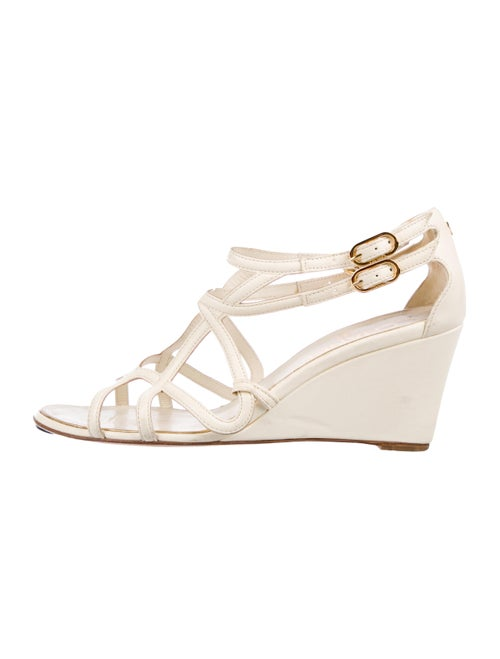 Chanel CC Leather Wedges White