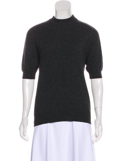 Chanel Mock Neck Short Sleeve Sweater Grey