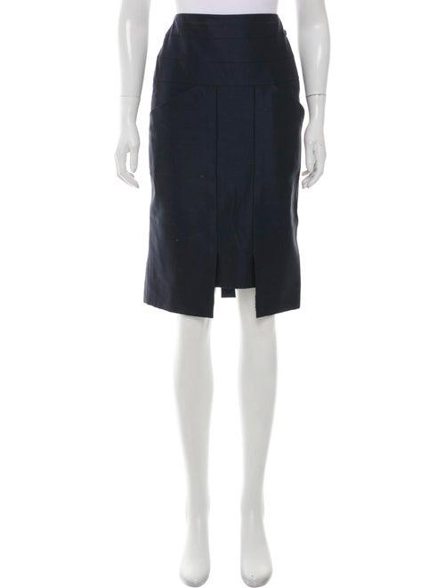 Chanel Knee-Length Pencil Skirt Navy