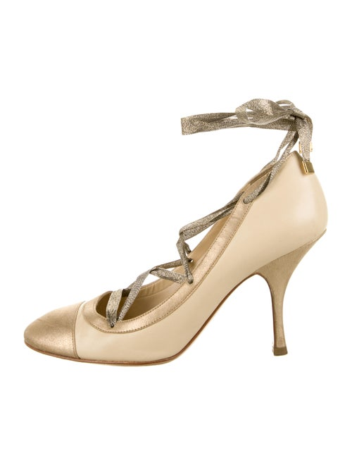 Chanel Leather Wrap-Around Pumps Nude