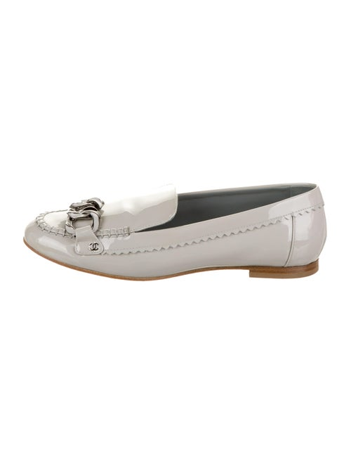 Chanel Chain-Link Loafers Grey