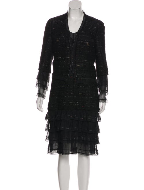 Chanel Metallic Tweed Dress Set Black - image 1