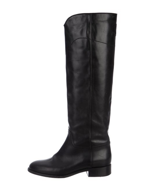 Chanel CC Leather Over-the-Knee Boots Black