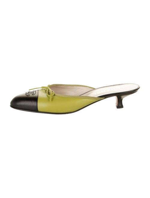 Chanel Vintage Cap-Toe Kitten-Heel Mules Lime