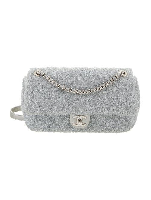 Chanel Pluto Glitter Flap Bag Silver