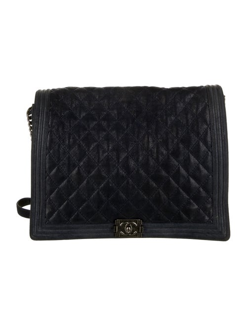 Chanel XL Gentle Boy Flap Bag silver