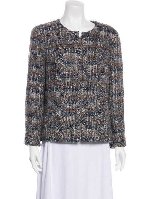 Chanel Tweed Pattern Evening Jacket Blue