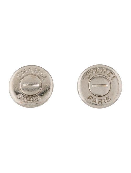 Chanel Button Clip-On Earrings Silver