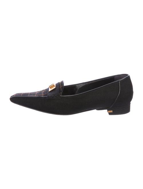 Chanel Canvas Square-Toe Loafers Black
