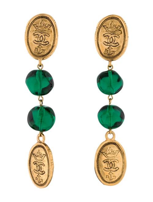 Chanel Vintage Gripoix Drop Earrings gold