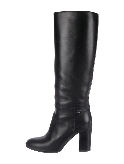 Chanel Leather Knee-High Boots Black