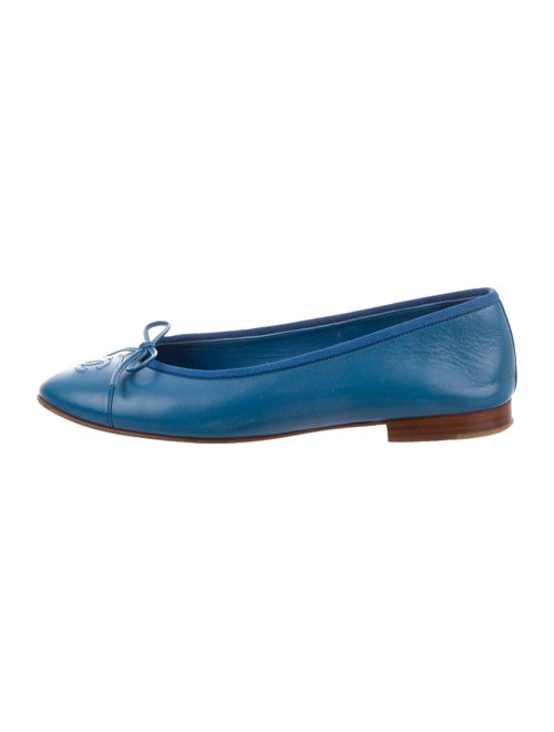 Chanel CC Leather Ballet Flats Blue