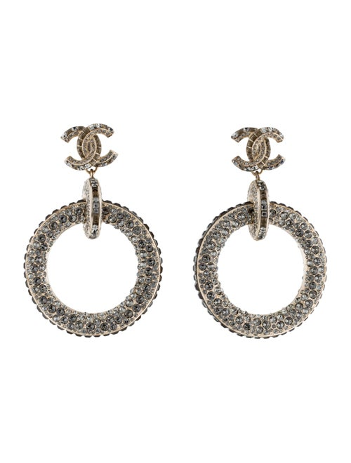 Chanel Strass CC Drop Earrings Gold