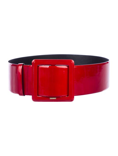 Chanel Patent Leather Wide Belt Red