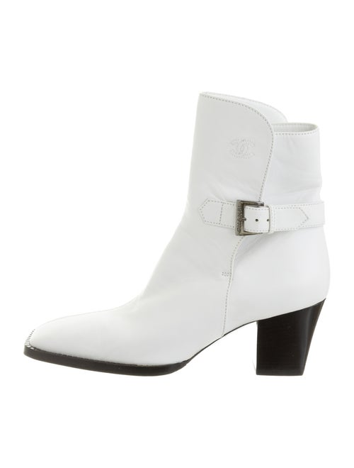 Chanel Square-Toe Ankle Boots White