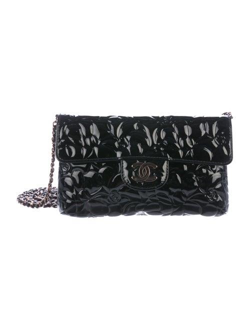 Chanel Patent Camellia Flap Shoulder Bag Black