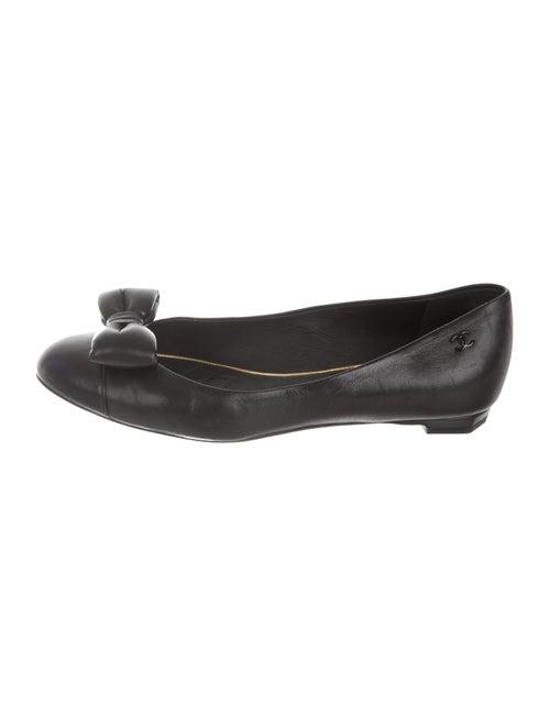 Chanel CC Leather Ballet Flats Black