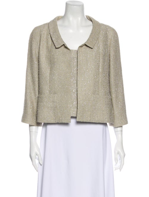 Chanel Metallic Tweed Blazer Set Beige