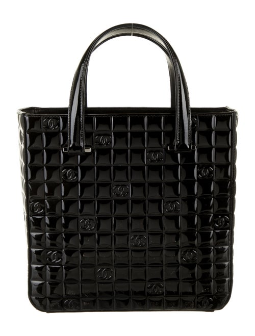 Chanel Chocolate Bar Patent Tote Black
