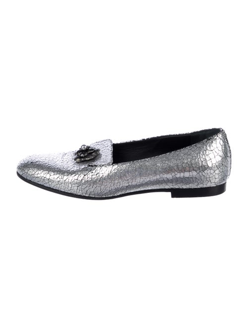Chanel 2015 Leather Loafers Silver