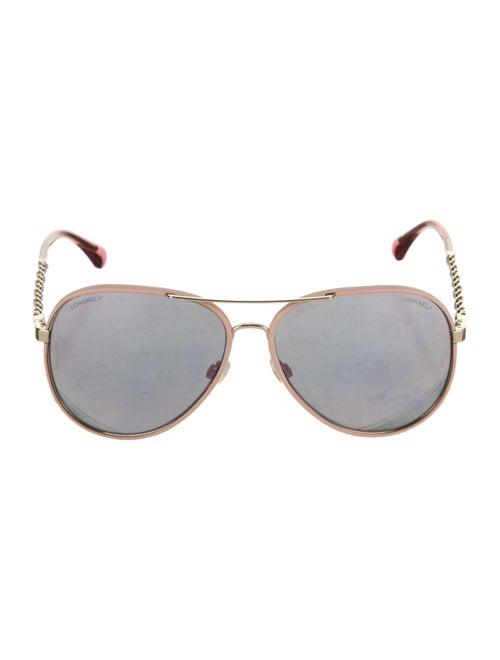 Chanel Pilot Aviator Sunglasses Gold