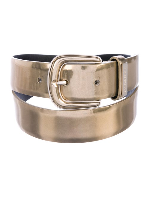 Chanel Leather Buckle Belt Gold