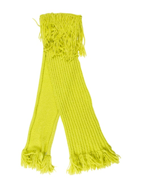 Chanel Wool & Mohair-Blend Scarf Lime
