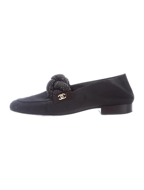 Chanel Crystal Embellishments Loafers Black