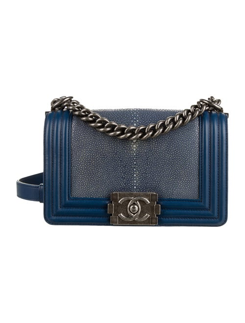 Chanel Small Galuchat Boy Bag silver