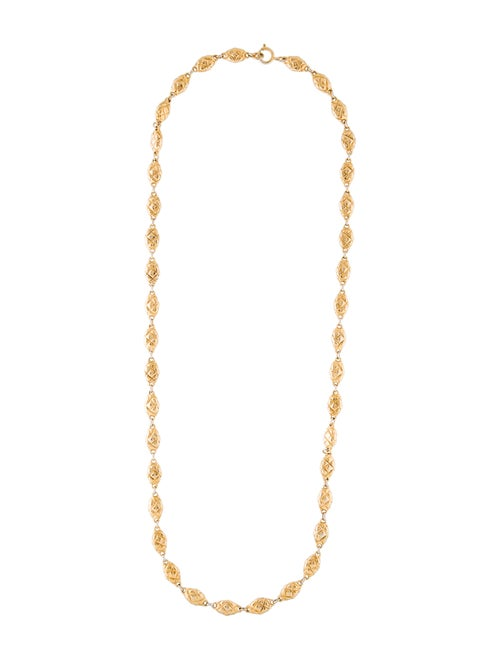 Chanel Vintage Quilted Station Chain-Link Necklace
