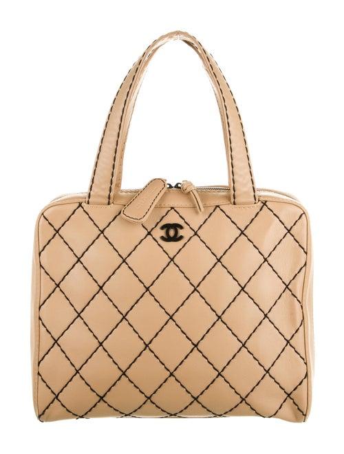 Chanel Surpique Bowler Bag Tan