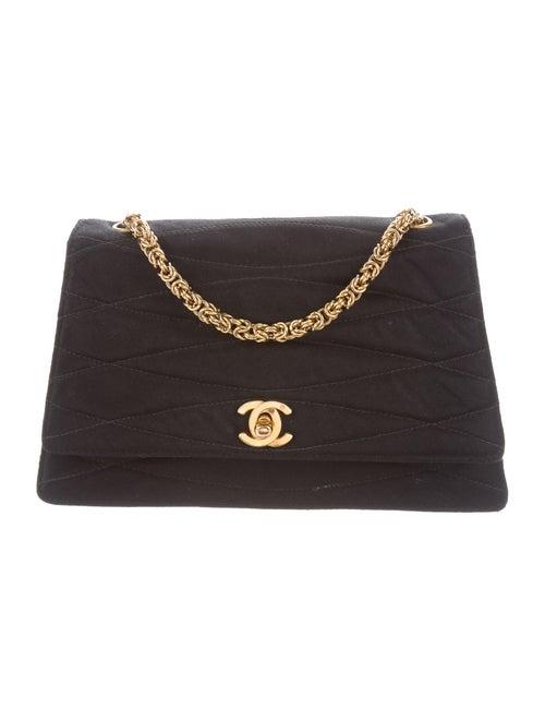 Chanel Vintage Satin Flap Bag Black