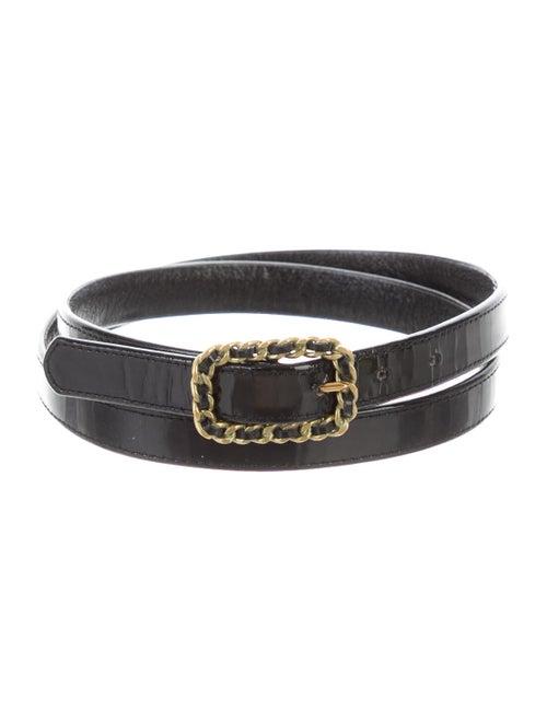Chanel Vintage Patent Belt Black