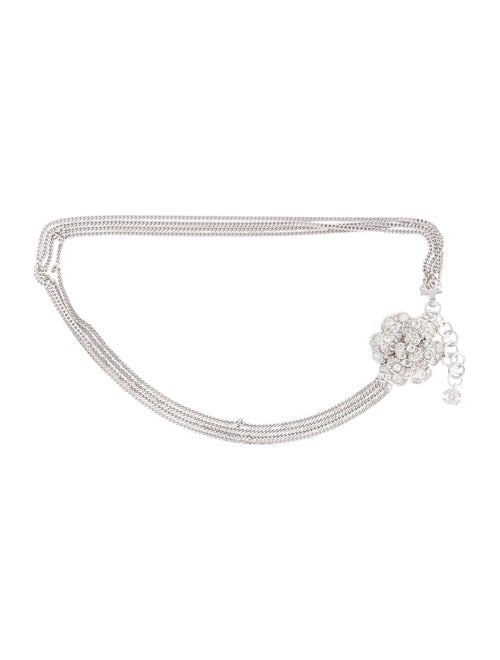 Chanel Camellia Chain-Link Belt Silver