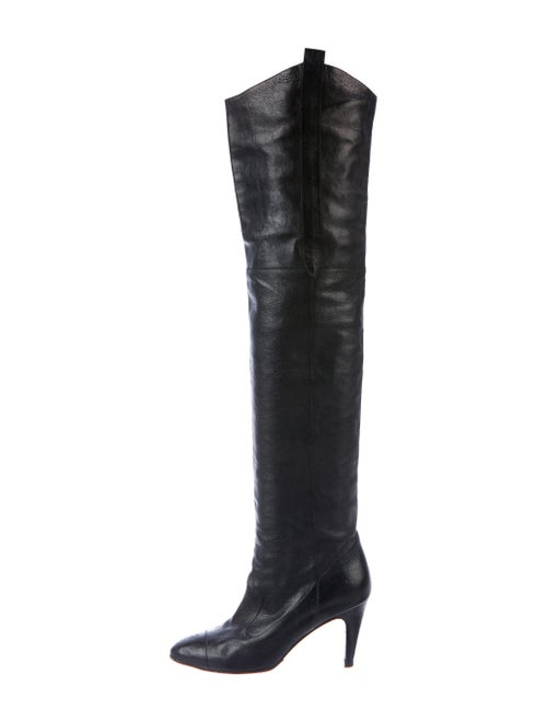 Chanel Leather Over-The-Knee Boots Black