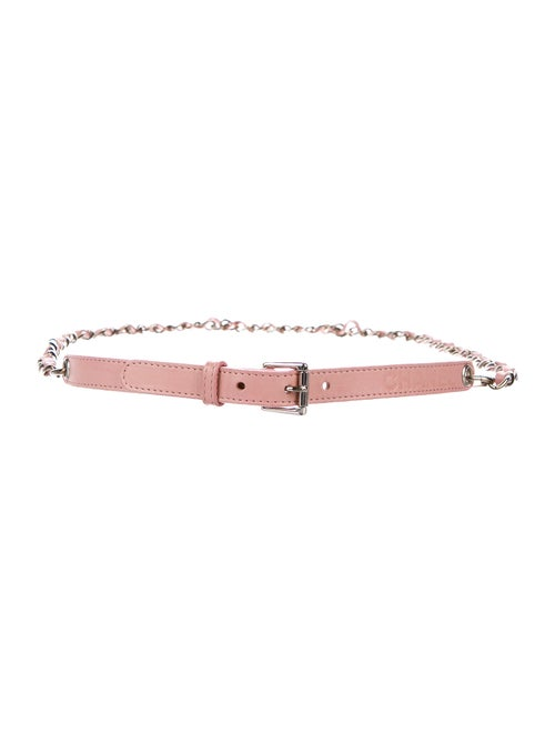 Chanel Chain-Link Leather Belt Pink