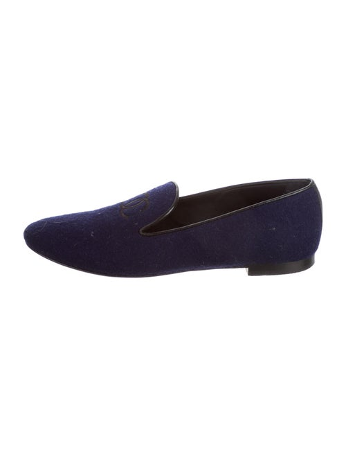 Chanel Interlocking CC Logo Loafers Blue