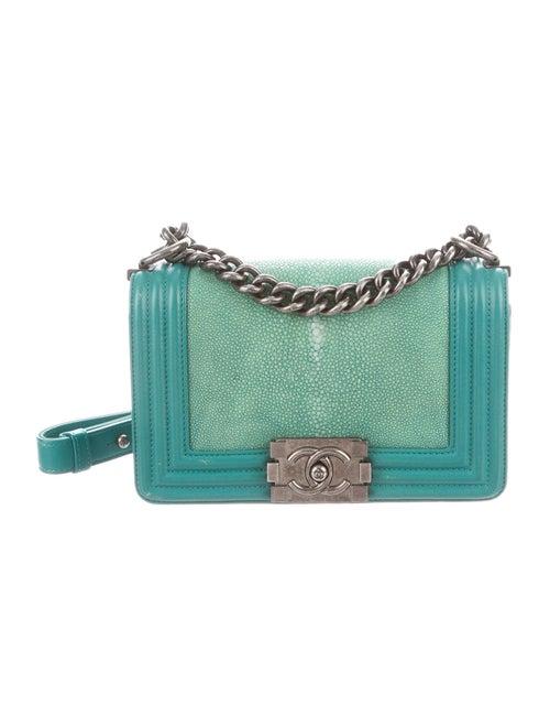 Chanel Small Galuchat Boy Bag Mint