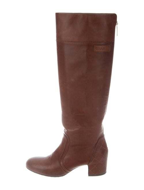 Chanel Leather Knee-High Boots Brown