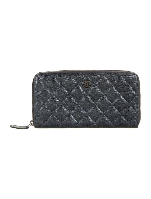 Chanel Quilted Caviar L-Gusset Wallet Metallic