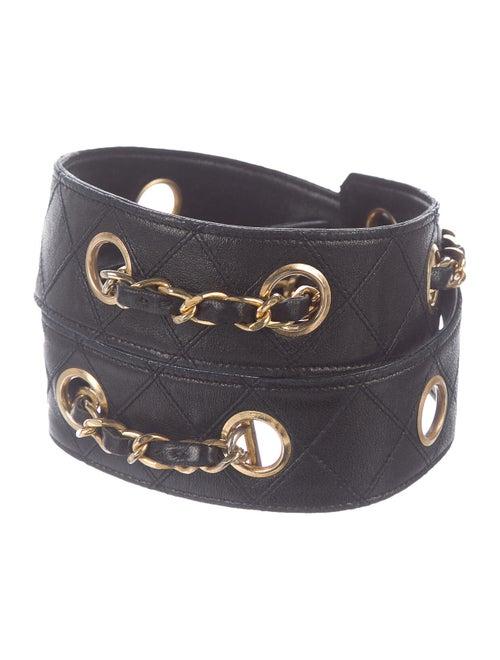 Chanel Vintage Quilted Grommet Belt Black