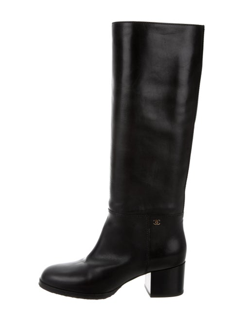 Chanel CC Leather Knee-High Boots Black