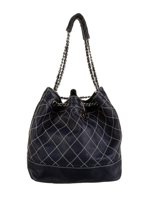 Chanel Surpique Bucket Bag silver