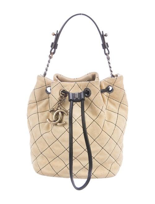 Chanel Small Suede Bucket Bag Beige