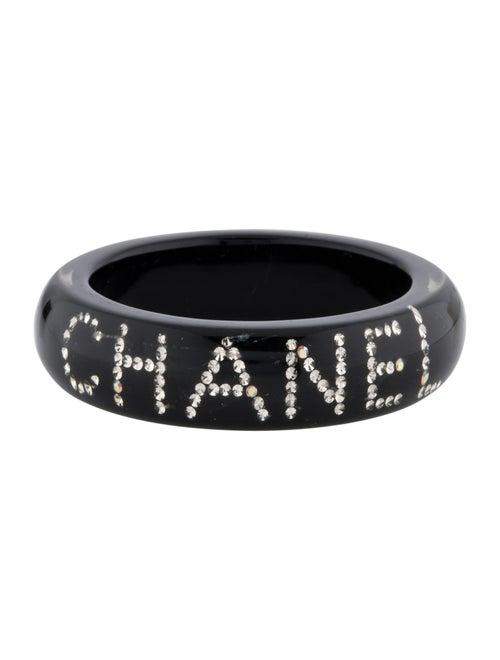Chanel Resin Crystal 'Chanel' Bangle Silver